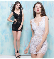 Wholesale Summer Dresses Sexy Body - 2016 new women's Club Summer sexy dress short body decoration perspective deep V collar lace bag hip skirt