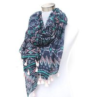 Wholesale Tribal Tassels Wholesale - Wholesale-blue multi tribal boho aztec geometric scarf with white tassels wholesale price