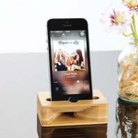 Wholesale Iphone Sound Amplifiers - Bamboo Mobile Phone Stand Holder Sound Amplifier Speaker Universal Multifunction Bracket Natural Wood for iPhone X 8 7 Plus