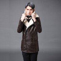 Wholesale Long Trench Coat Men Pieces - Winter warm plus velvet trench coat the mens leather jackets casual overcoat men style new arrival warm fur one piece faux two piece brown