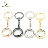 Wholesale Magnetic Compass Wholesalers - 30mm Round magnetic glass locket keychains floating charm locket keychain 4 Colors can choose Zinc Alloy LSFK02