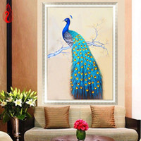 Wholesale Peacock Canvas Painting - YGS-178 DIY 5D Diamonds Embroidery Mosaic The spirit of the peacock Round Diamond Painting Cross Stitch Kits Home Decor