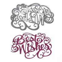 "Wholesale Photo Album Diy Craft - 1pcs Metal Steel "" Best Wishes "" Letter Cutting Dies Stencil For DIY Scrapbooking Album Paper Card Photo Decorative Craft"