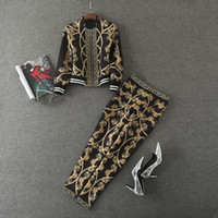 Wholesale Metal Chain Suit - European and American women's wear 2017 Autumn new fund Metal chain printed long sleeve casual jacket and trousers suit