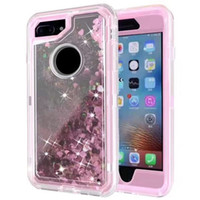 Wholesale Iphone Phone Belt Clips - Glitter Star Quicksand Case TPU Crystal Robot Defender Phone Back Cover Case For iPhone X 8 7 6s Plus Samsung Note 8 With Belt Clip OPP BAG