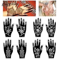 Wholesale Flower Tattoo Stencils - Wholesale-15 Designs 1 Pair Hands Mehndi Henna Stencil Flower Lace Tattoo Airbrush Painting for Women Hands Art Tattoo Stencils Waterproof