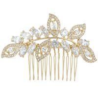 Wholesale Gold Tone Bridesmaid Jewelry - Bella Wedding Hair Comb For Bride Cubic Zircon Gold Tone Bridal Hair Jewelry For Bridesmaid For Lover
