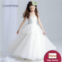 Wholesale Kids Girl Model Dress - Kids wedding dresses Prom dress Girls pageant dress High quality designer dresses real photo China wedding dress beach wedding dresses