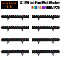 Wholesale Dimming Led Light Tubes - Wholesales Price 8 Unit 14x12W RGBWAUV 6IN1 Indoor LED Linear Tube Light Smooth Dimmer Output Flood light&Wall Washer 110V-220V TIPTOP
