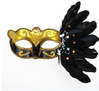 máscaras coloridas venda por atacado-Halloween querade Máscara de Natal Colorido Máscara de Penas Festa de Aniversário de Halloween Máscara de Moda das Mulheres Palco Performances Suprimentos