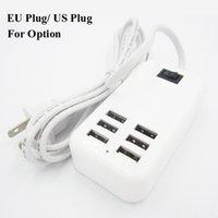 lg usb сетевое зарядное устройство оптовых-30 Вт 6 портов USB Desktop Home Charger 6 розеток адаптер переменного тока US EU Plug с линией 1,5 м для смартфона