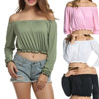 Wholesale Midriff Tops - 2017 Women Sexy Off Shoulder T Shirt With Long Sleeve Midriff Tops Crop Tops ZL3150