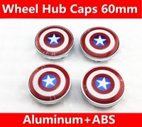 4 pz = 1 set / 60mm Refit Capitan America logo Decal wheel center hub caps adesivi emblema Car styling shippin gratuito