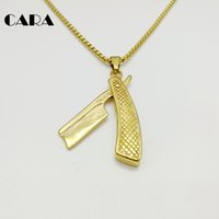 Wholesale Men Knife Pendant - CARA 207 New 316L stainless steel hip hop shaver knife necklace pendant Baber Knife pendant necklace men hip hop necklace fashion CARA0221