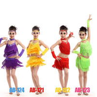 Wholesale Tango Dance Wear - Red Yellow Girls Tassles Latin Dance Dress Ballroom Stage Wear Black Tango Dress Kids Salsa Performance Competition Dancewear Cotumes