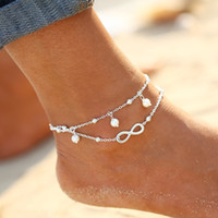 New Arrival Fashion Simple Pearl Anklet Silver Plated Goldplated Double chaîne Cross Shape Pretty Girl Summer Beach Voyage Bracelet Bijoux