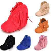 Wholesale Kids Boots Size 11 Boys - Baby First Walkers kids girls boys boots toddler fringe tassel winter warm boots shoes infant Christmas gifts C2510