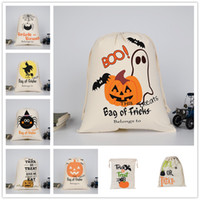 Wholesale Pink Treat Bags - 9colors Holloween printing cotton canvas drawstring bags kids trick or treat gift bags Holloween party sale promotion packing bag