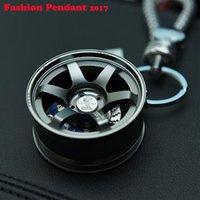 Wholesale Automotive Rims - Wheel Rim Keychain Creative Auto Parts Model Automotive Accessories Spinning Metallic Key Chain Ring Keyring Keyfob