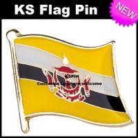 Wholesale Flag Pin Badges - Brunei Flag Badge Flag Pin 10pcs a lot Free shipping 0002