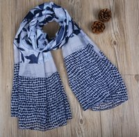 Voile Pattern Beach Scarf Fashion Leaves and Dots Impreso Ladies Scarves Long 180 * 90cm Beach Shawl and Headscarf XS-083