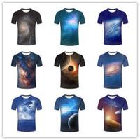 Wholesale Galaxy Tshirts - Fashion Personality Mens 3D Star Galaxy Bright Nebula Space Planet Astronaut Printed short sleeves tshirts tops tee 011011