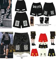 Wholesale Hiphop Fashion Stripe - Wholesale off white stripe printed hip-hop lovers mens hiphop shorts OW fashion brand man knee length pant free shipping 7 colors