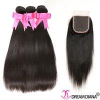 doğal insan saç kapatmaları toptan satış-Remy Insan Saçı Kapatma Ile Perulu Saç Demetleri Örgüleri Dantel Kapatma Ile Düz Saç Örgüleri 4x4 Doğal Renk Boyanabilir