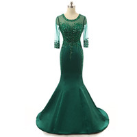 Wholesale Pink Draping Fabric - Emerald green Long Mermaid Evening Dresses 2017 with Crystal Beaded formal prom gowns Satin Fabric Free Shipping