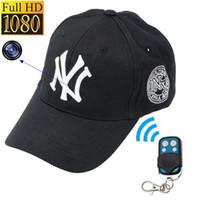 vigilancia remota de la cámara al por mayor-Mini tapa de la cámara 32GB 16GB 8GB 1080P Full HD NY Gorra de béisbol DVR Grabadora de video mini DV Vigilancia de seguridad Control remoto sombreros Cámaras
