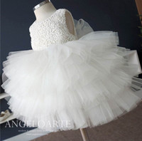 Wholesale Toddlers Fluffy Tutu - 2017 New Toddler Girl Clothing Elegant Girls Dresses Summer Solid White Layers Fluffy Tulle Girl Party Dress 5818