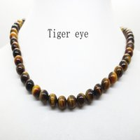 Wholesale Tiger Necklaces For Men - 2017 Hot White 8MM Natural Turquoise Lava Amethyst Tiger Eye Beaded Choker Necklace For Women Men Jewelry Choker Body Chain