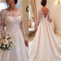 Wholesale simple bridal gowns lace satin resale online - Fanty Jewelry Neck Long Sleeves Lace Applique Bodice Court Train Wedding Dress Open Back Sexy Bridal Gowns vestido de noiva curto