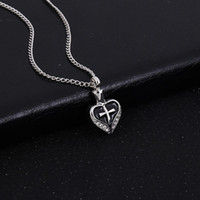 Wholesale Crystal Clear Resin - Keepsake Funeral Jewelry Alloy Cross Heart Cremation Ashes Urn Pendant Necklace Locket Jewelry Paved Clear Crystal Diamond