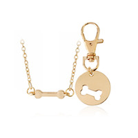 Wholesale Dog Color Slide Charm - 2pcs set Gold Silver Color Dog Bone Matching Best Friends Charm Necklace&Keychain BFF Bones Friendship Pet Dog Lover Jewelry 8