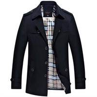 Wholesale Spring Trench Coats For Men - Wholesale- Fashion Mens Trench Coats Business Casual Suit Jacket V-Neck Thin For Spring Autumn Trecch Jackets Winderbreaker