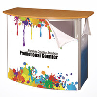 Wholesale Gear folding Fabric Promotion Easy Counter for Trade Show with Folding Gear Structure HDF Table Top and Shelves Tension Fabric Print Graphic