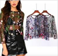 Wholesale Transparent Sexy Blouses - Black mesh embroidery blouse shirt Summer flower transparent women blouses chemise Sexy long sleeve cool blouse blusas