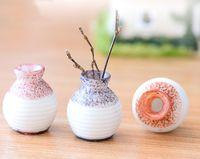 Wholesale Miniature Vases - 6pcs mini resin vase bonsai figurines fairy garden miniatures for terrariums ornament dollhouse Home decor resin craft