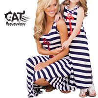 Wholesale Anchor L - Family matching dress 2017 summer kids clothing black white stripe sleeveless casual mother daughter dresses clothes sequins Anchor dress