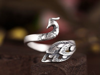 Wholesale Vintage Animal Rings Sterling - New 925 Sterling Silver Jewelry Vintage Animal Peacock Opening Rings For Women 925-Sterling-Silver Hypoallergenic Anillos Mujer