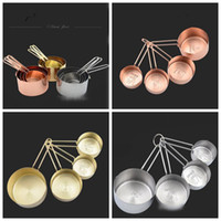 Wholesale Measuring Cup Steel - Copper Stainless Steel Measuring Cups 4 Pieces Set Kitchen Tools Making Cakes and Baking Gauges Measuring Tools OOA3014