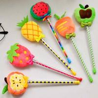 Wholesale Christmas Stationery Free Shipping - 10pcs lot Fruit Plush Gel Pens Pen Stationery Novelty Gift Office School Supplies Kid Child Christmas Present Gift Prize Free Shipping Papel