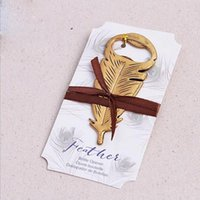 Wholesale Peacock Party Favors - 100pcs Elegant Gold Peacock Feathers Bear Bottle Opener Wedding Favors Gift Party Favor Guests gifts Souvenirs Giveaways ZA1237