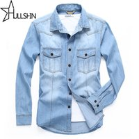 Wholesale Tall Casual Dress - Wholesale- Linen Dress Shirts Brand 2017 Autumn Men Slim Fit Long Sleeve Denim Shirt Mens Big And Tall Shirt Jacket Casual Camisa 6XL 68033
