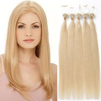 Wholesale Hair Color Pack - Wholesale-1g strand 100pcs pack blonde color #22 #20 #613 #60 #24 straight wave micro loop ring hair extensions