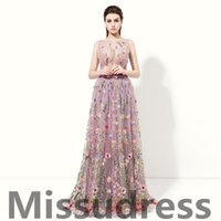 Wholesale Embroidery Dresses For Women - Real Model Photos 2017 Fashion Purple Lace Evening Gowns Sheer Bodice A Line Formal Evening Dresses For Women Sexy Special Prom dresses.