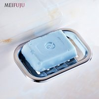 Wholesale Baskets Trays - Meifuju 1Pcs Stainless Steel Soap Dish Basket Brief Style Wall Mounted Soap Dishes Soap Holder Tray Rack Bathroom Accessories