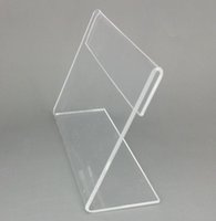Wholesale Acrylic Price Tags - Various Middle Size T1.2mm Clear Acrylic Plastic Sign Display Paper Label Card Price Tag Holder L Shaped Stand Horizontal On Table 20pcs