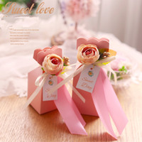 Wholesale Blue Wedding Cards Design - Creative Design Small Wedding Favor Holders Chocolate Box Candy Box 6 Colors Pure Hand-made Camellia Flower Card Paper Box